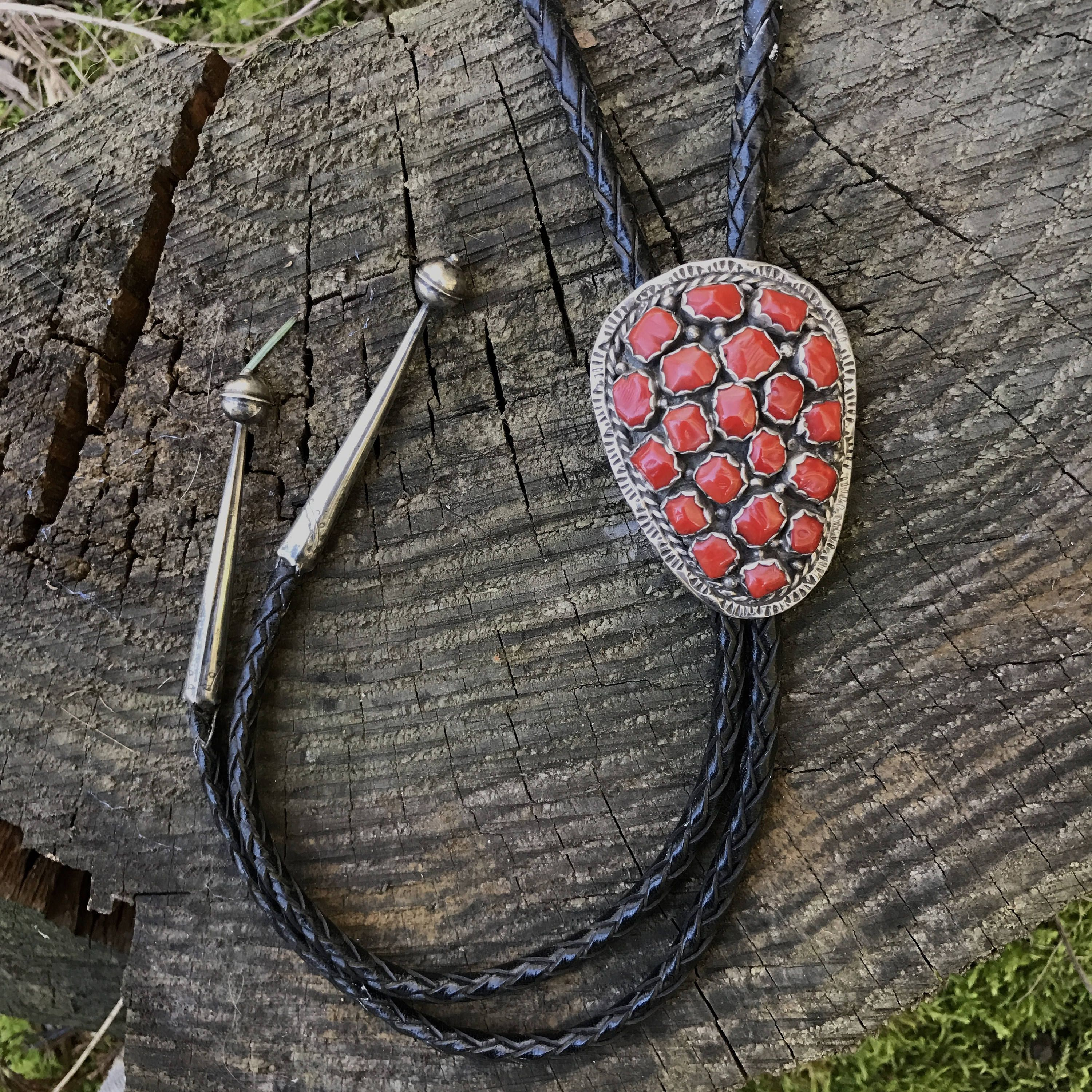 Red Coral Bolo mad by Raymond Etsitty by CabochonCreek on Etsy ...