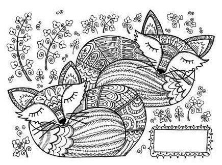 Two Mandala Fox Coloring Page Art Coloring Pages Designs