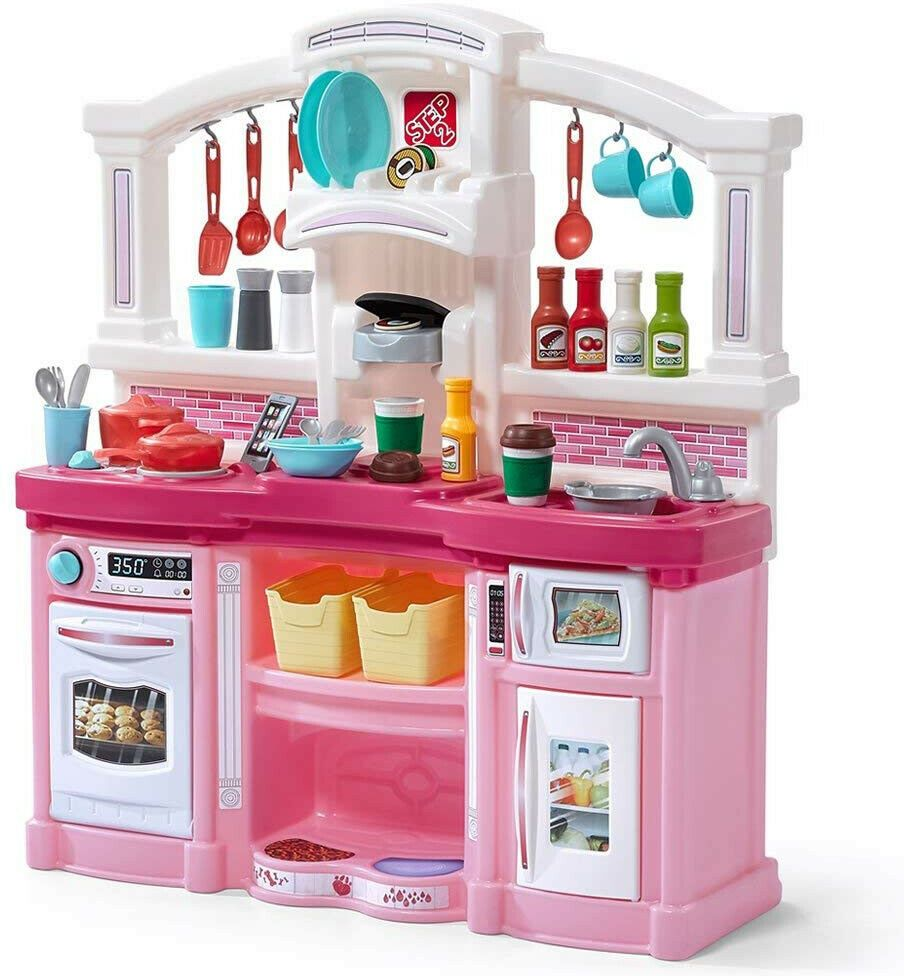 Kitchen Playset For Girls Pretend Play Refrigerator Toy Cooking Set Toddler Kids Step2 Pink Play Kitchen Play Kitchen Kids Play Kitchen