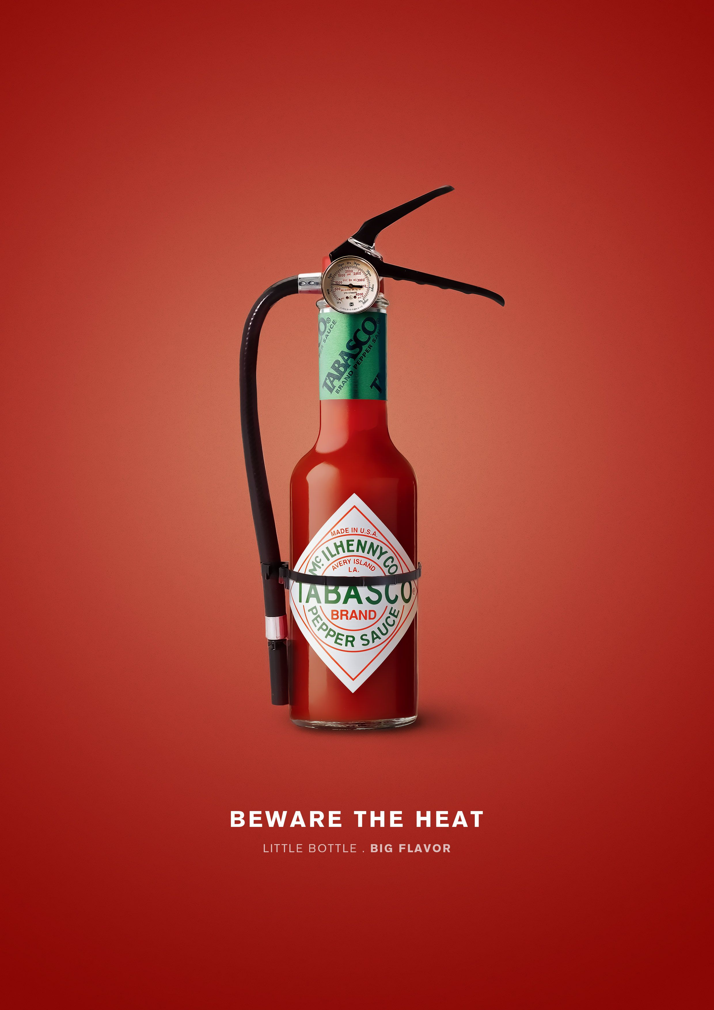 Tabasco graphic. The sauce looks like an extinguisher to showcase how hot the sauce is. #advertisement