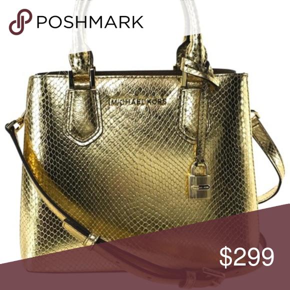 f24dd2a87994 Michael Kors Gold Embossed Leather Messenger Bag Michael Kors Adele Medium  Shoulder Gold Embossed Leather Messenger Bag 9