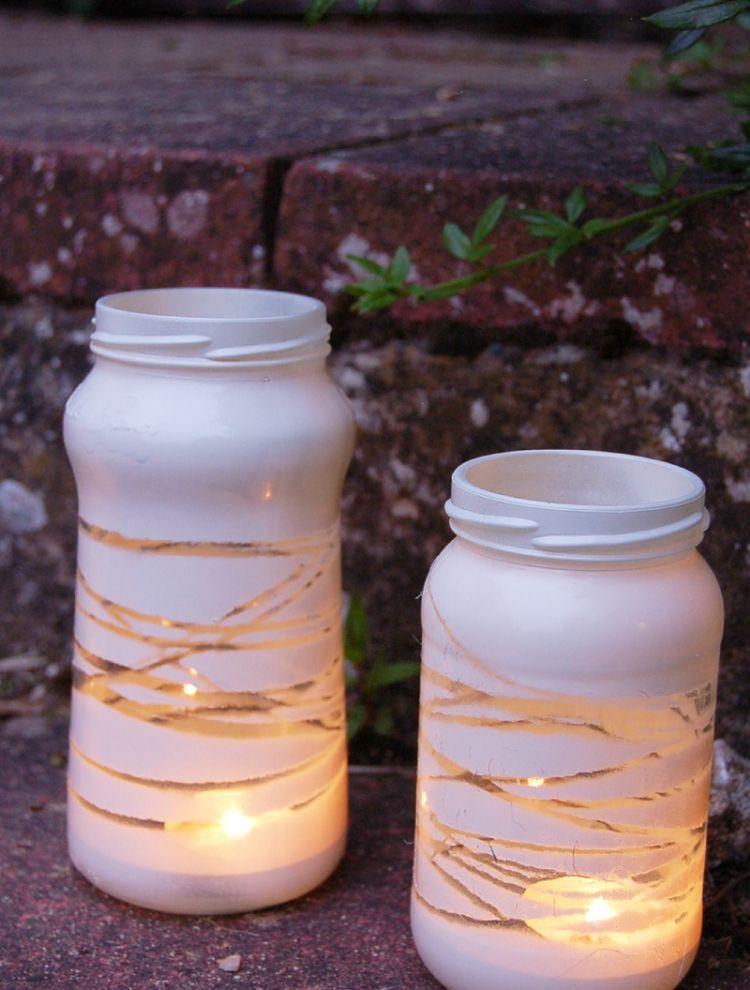 Windlicht Garten Konservierungsglaeser Weiss Schnur Teelicht Farbe