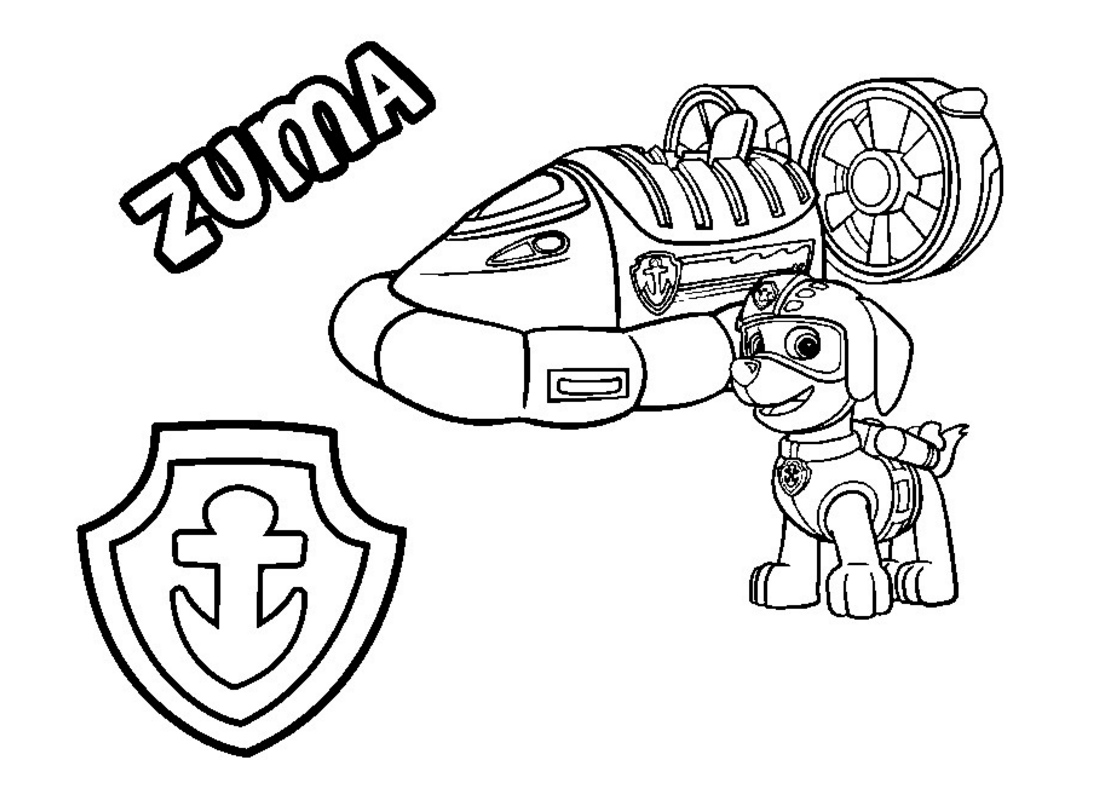 Paw patrol coloring page zumas hovercraft vehicle