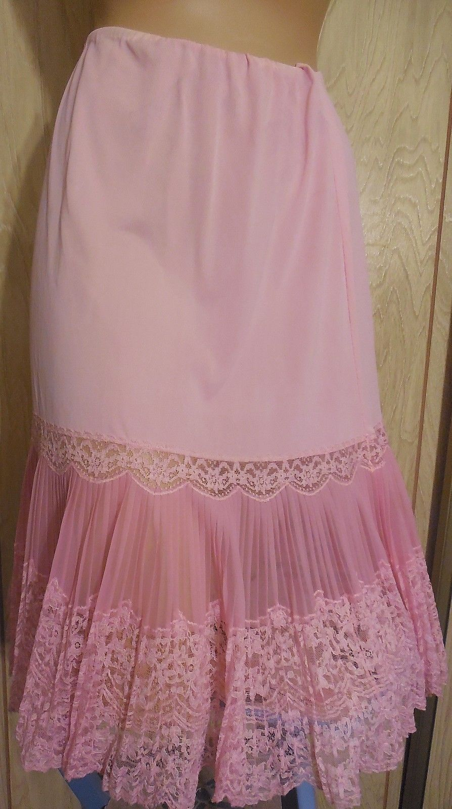 I Love Wearing Long Pink Vintage Silky Nylon Slips As They -1374