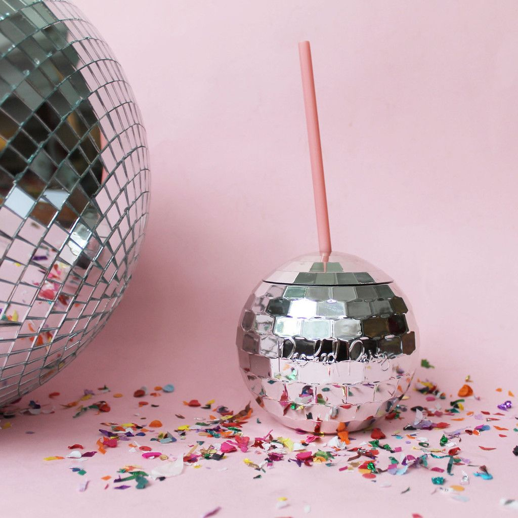 Disco Ball Tumbler. This Silver Metallic With A Pink Straw Tumbler Is  Perfect For Hot
