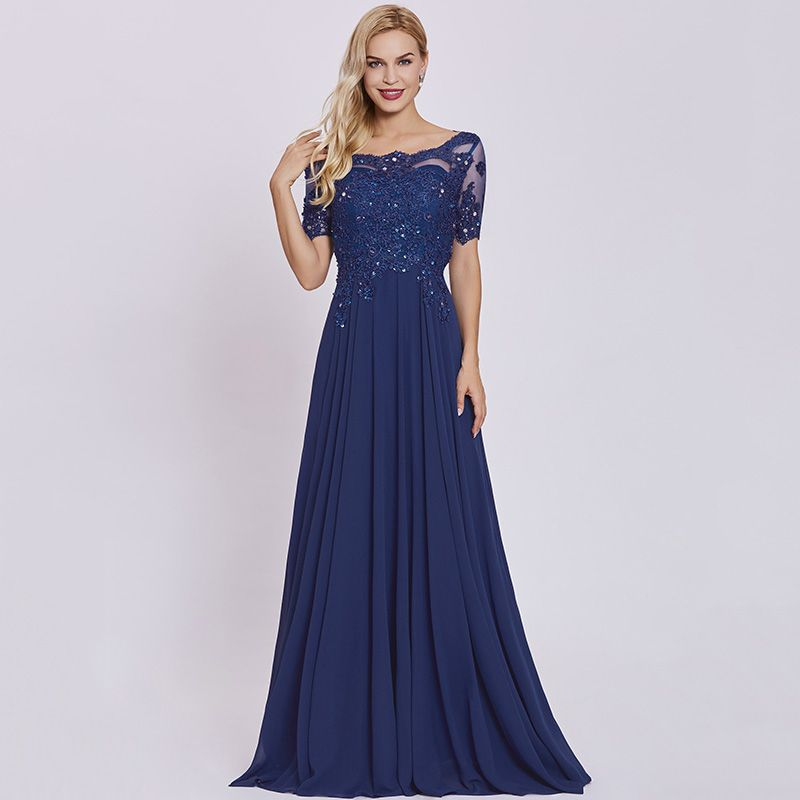 d37de36debd Tanpell dark royal blue long evening dress lace beaded o neck short sleeves  ankle length dress women formal prom evening dresses free shipping worldwide