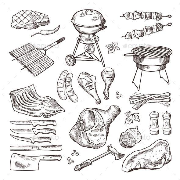 Bbq Vector Hand Drawn Illustration Set How To Draw Hands Bbq Illustration