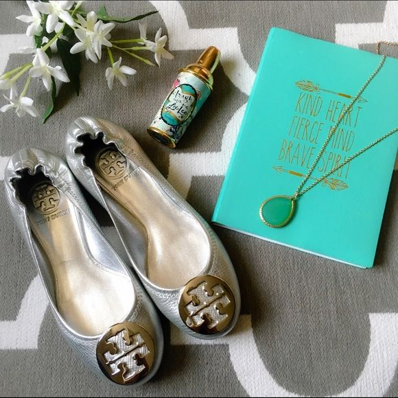 dd94d31584f 12-hr sale ‼ Tory Burch Silver Reva Flats ‼️12-hr sale‼ will go back to   160 when sale ends! HOST PICK 3 10 2016 Campus Chic Party Classic Tory  Burch ...