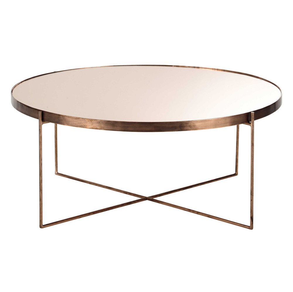comÈte copper-plated metal mirror coffee table d 83cm | mirrored
