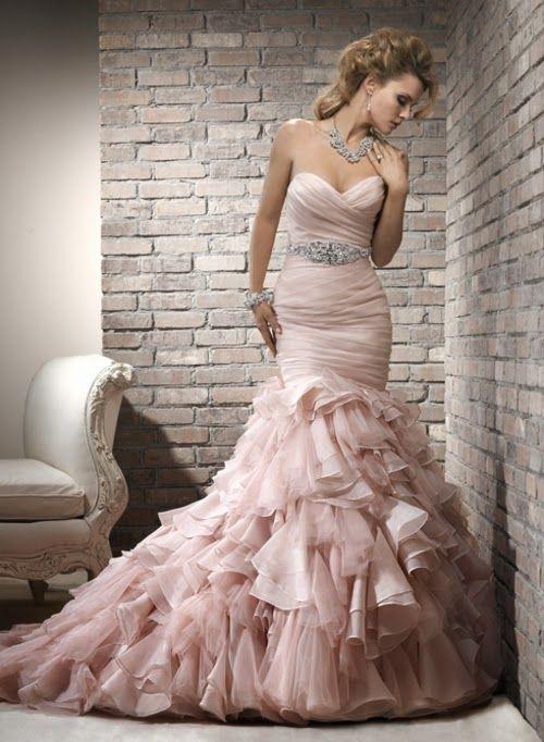 Resultado de imagen para vestidos de novia rosado