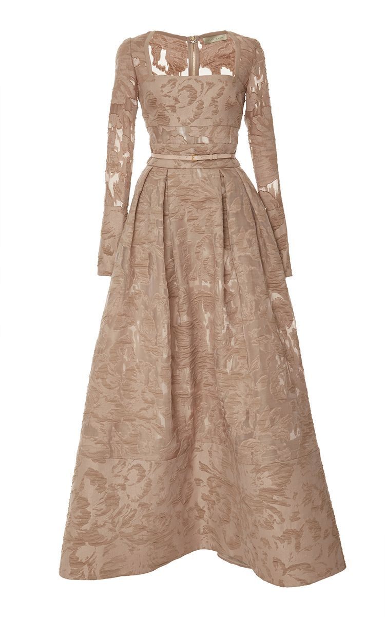 Brocade And Organza Fil Coupe Gown by Elie Saab - Moda Operandi | Beige  evening dresses, Beige long sleeve dress, Long sleeve evening gowns