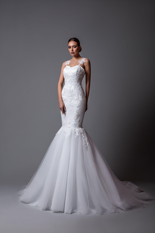 Incredible satin wedding dress carmina mermaid silhouette with wide