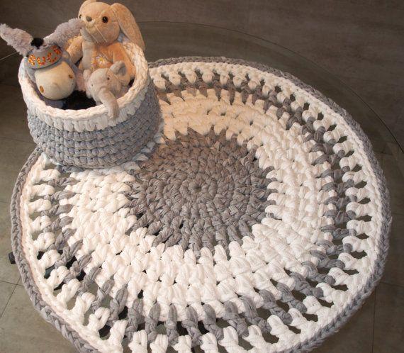 Crochet alfombra redonda trapillo gris blanca round por - Alfombras redondas ...