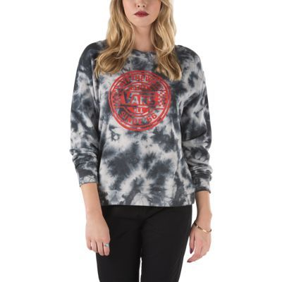 The Moonshine Crew Sweatshirt is a 60% cotton, 40% polyester fleece pullover crew sweatshirt with an allover dye treatment and front graphic. Model is 5 feet 9 inches tall and wearing a size Small.