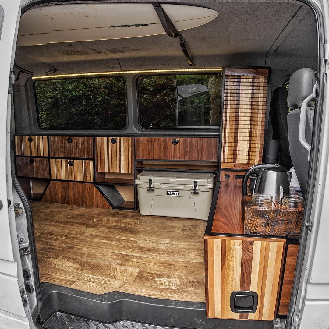 Starting To Look Like A Home This Mobile Office Camper Has Got Some Cool Custom Features Built Into It Workwhereyouparkit Van Camping Mini Van Camper