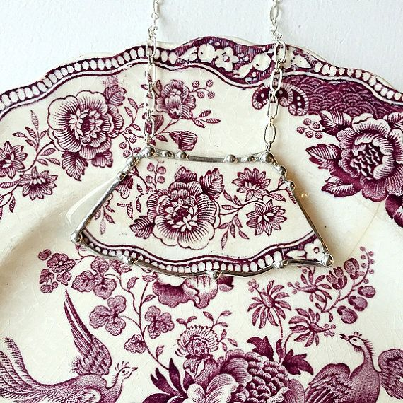 Broken china jewelry necklace antique by dishfunctionldesigns