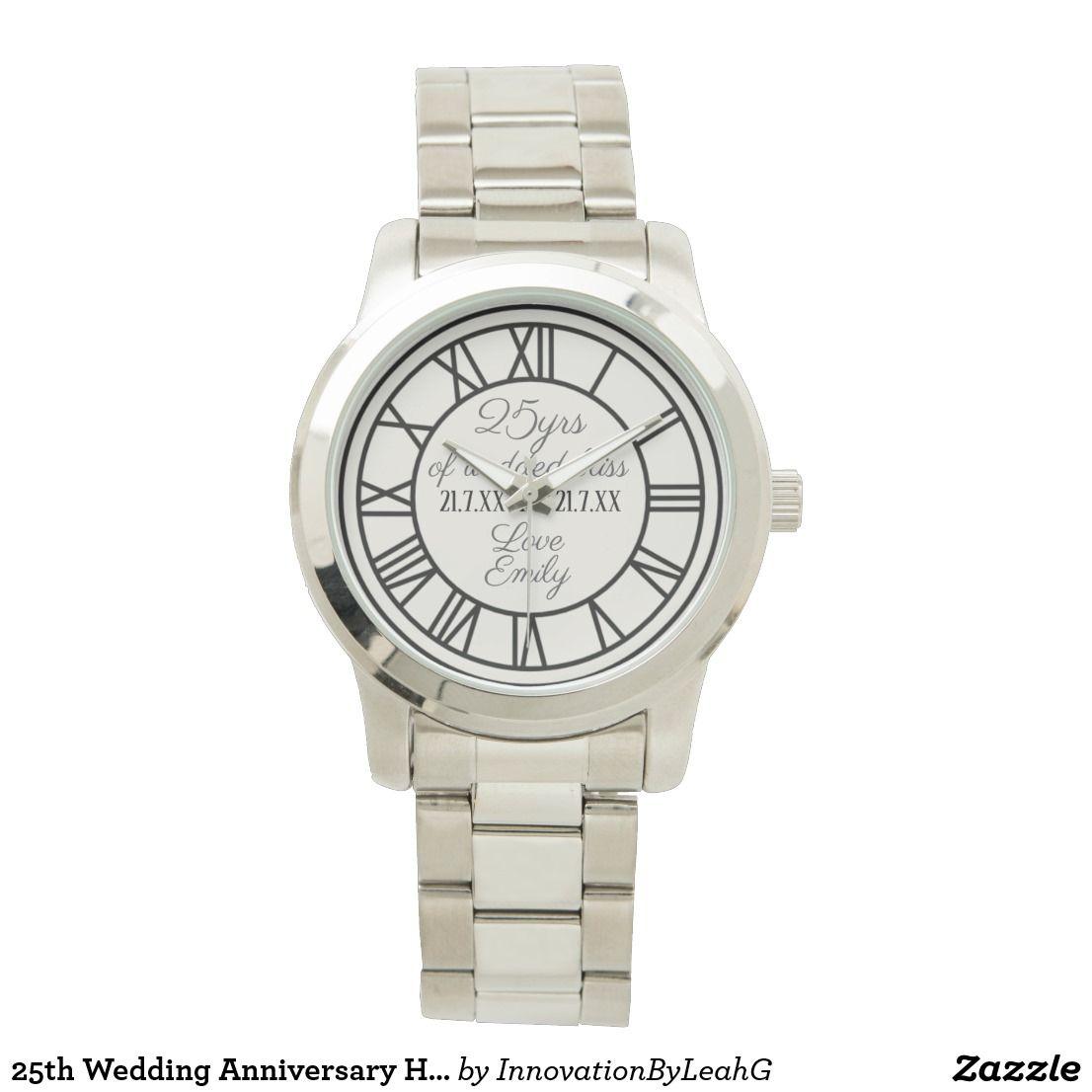 25th Wedding Anniversary Husband Roman Numerals Wrist Watch