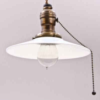 c 1910 factory pendant light fixture with pull chain socket and milk glass shade decor. Black Bedroom Furniture Sets. Home Design Ideas