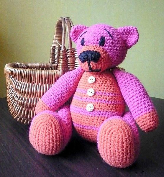 Häkeln Teddy Bär Pink von Crochetland auf DaWanda.com