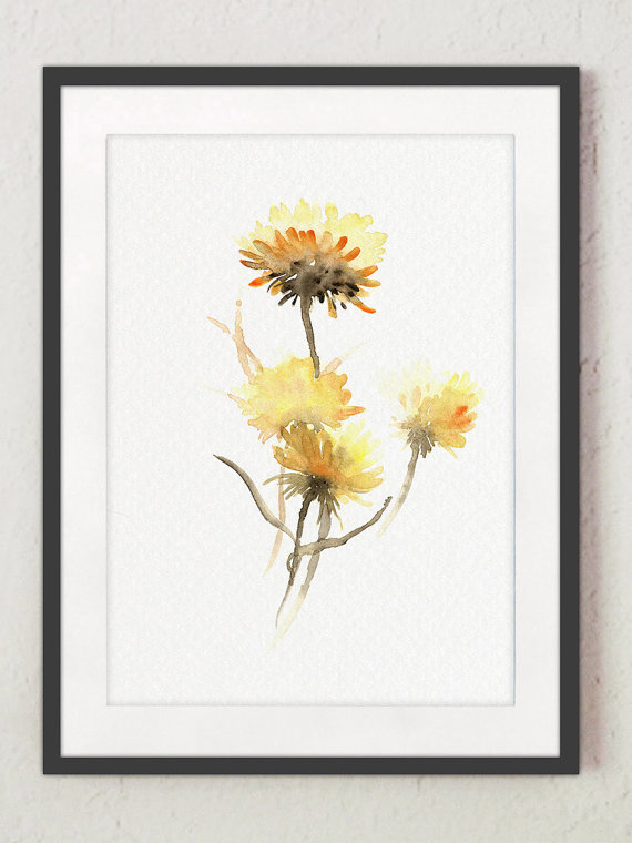 Aster Flower Common Dandelion Art Print Set 3 Yellow Meadow Wild Flowers Home Decor Beige Watercolor Painting Abstract Floral Wall Poster Aquarell Bilder Blumen