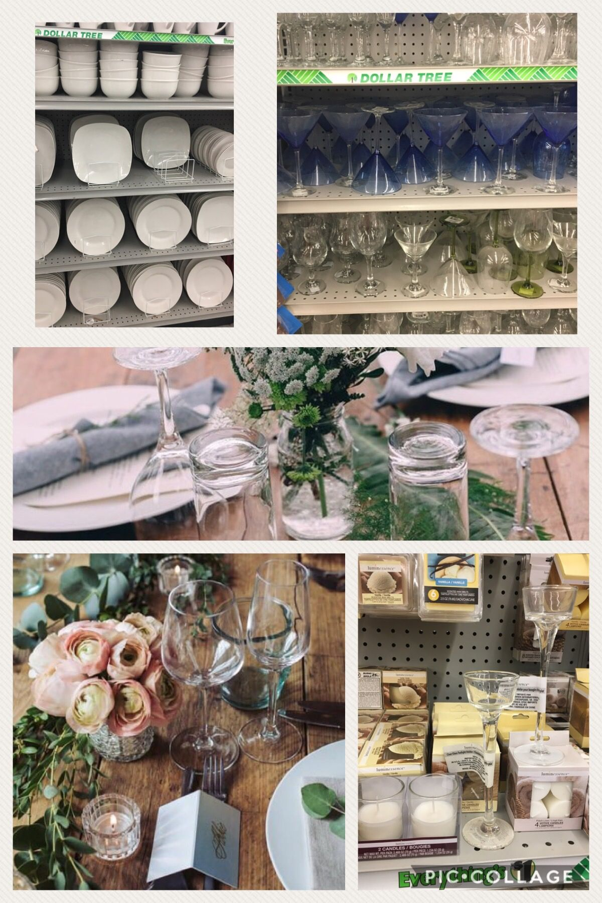 Wedding decorations dollar tree  Achieve this Wedding look with Dollar Tree Finds white plates wine
