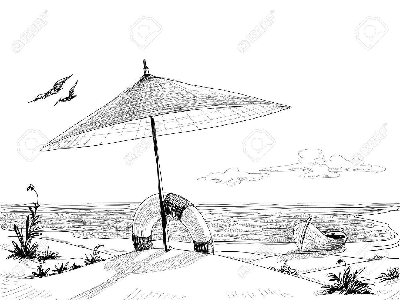 Beach chair and umbrella sketch - Vector