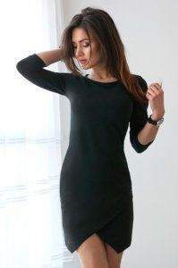 Dopasowana Czarna Asymetryczna Sukienka Vubu Xs 34 6327735921 Oficjalne Archiwum Allegro Little Black Dress High Neck Dress Dresses