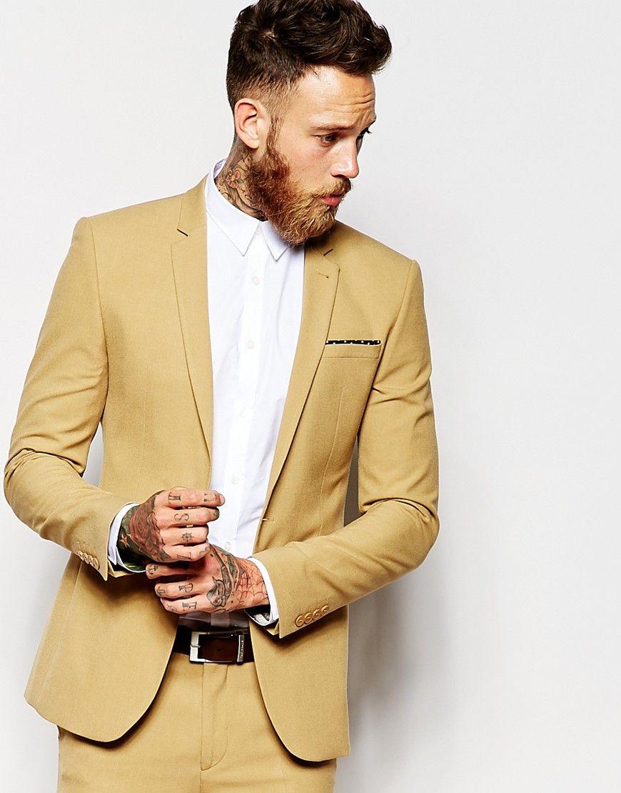 ASOS Super Skinny Suit Jacket In Camel