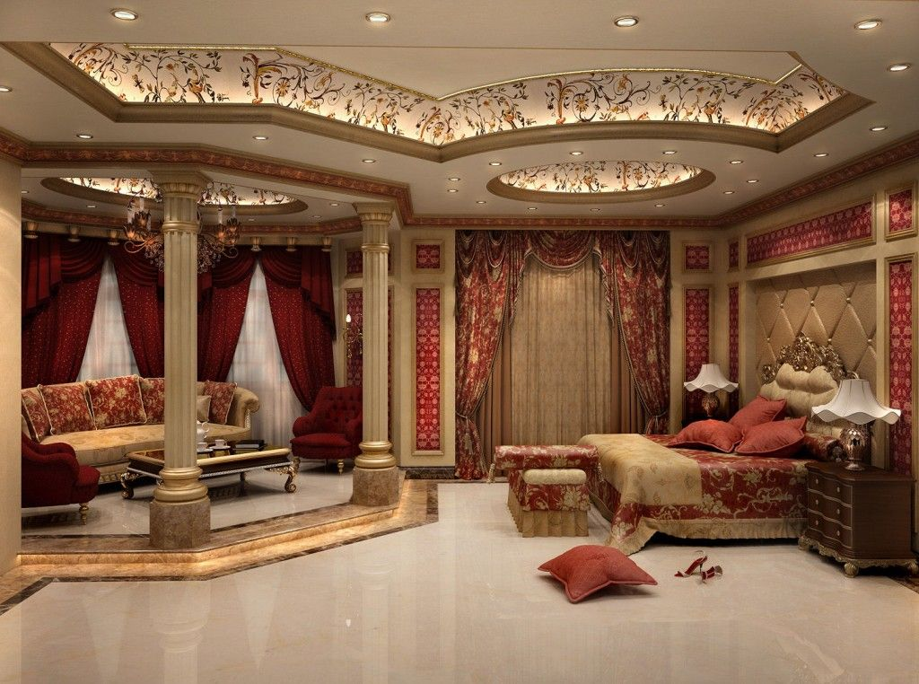Huge master bedroom interior with strong colors   Discover more: http://masterbedroomideas.eu/