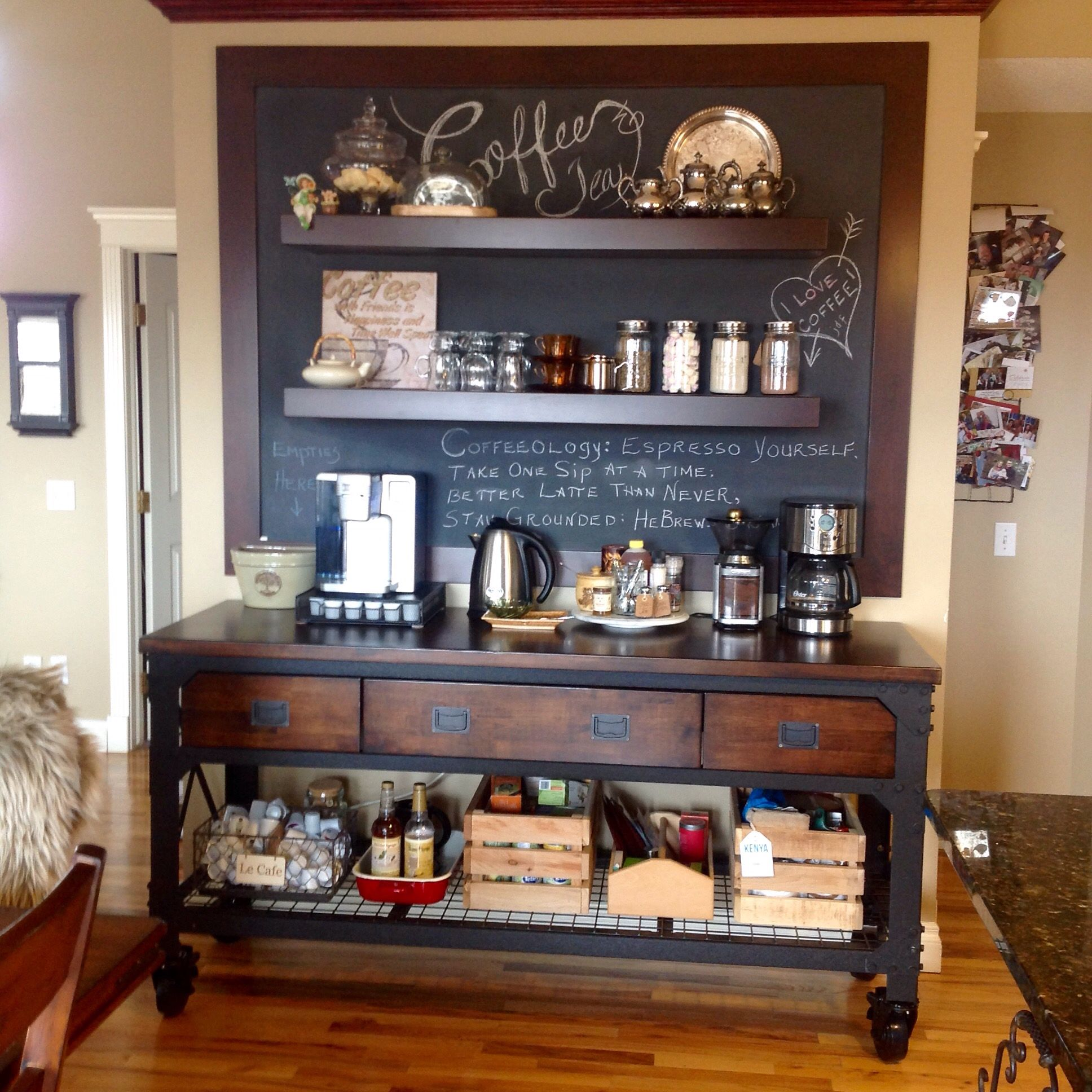 Love my new coffee bar. The drawers hold mugs and other ...