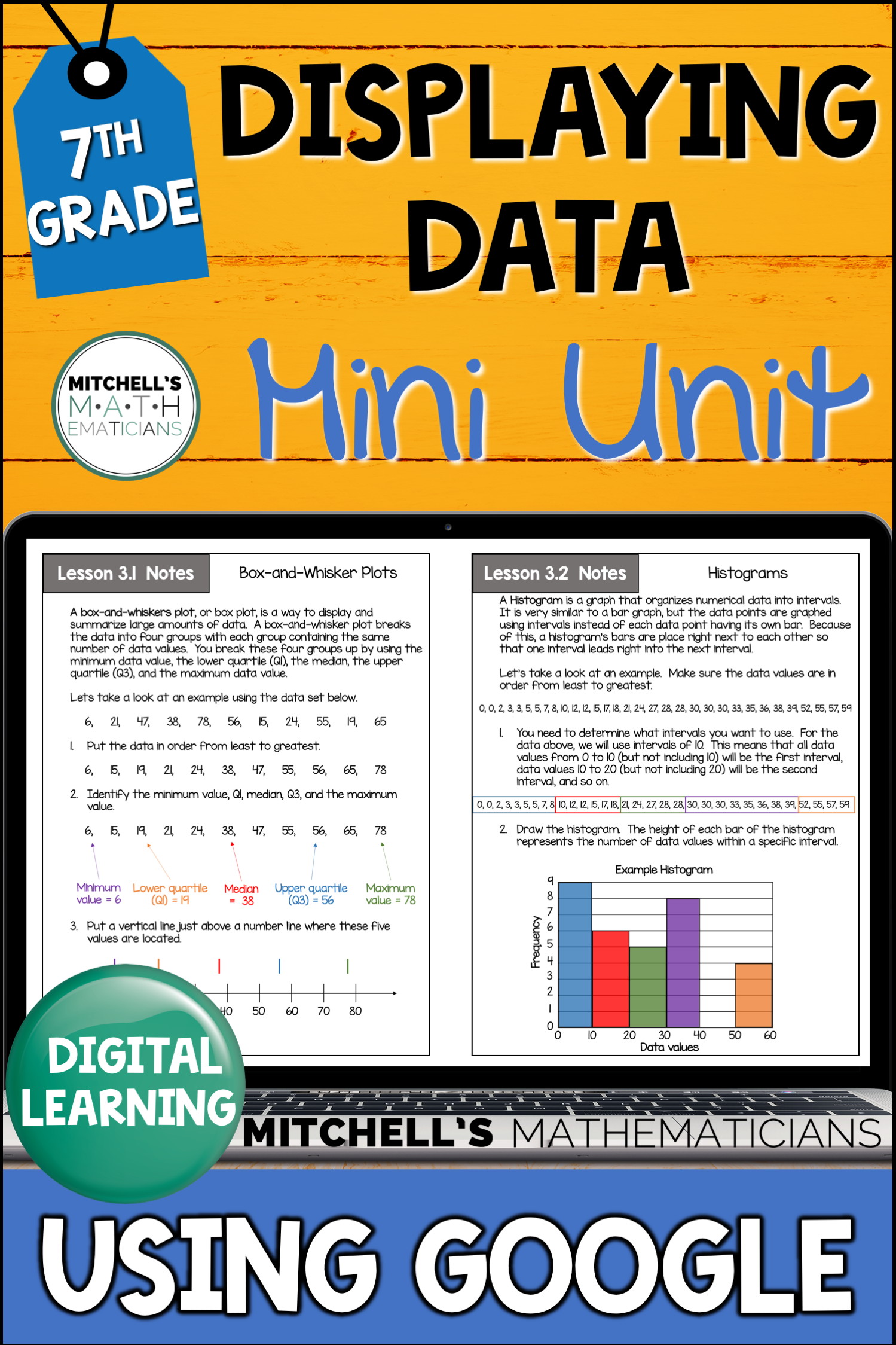 7th Grade Distance Learning Displaying Data Mini Unit In