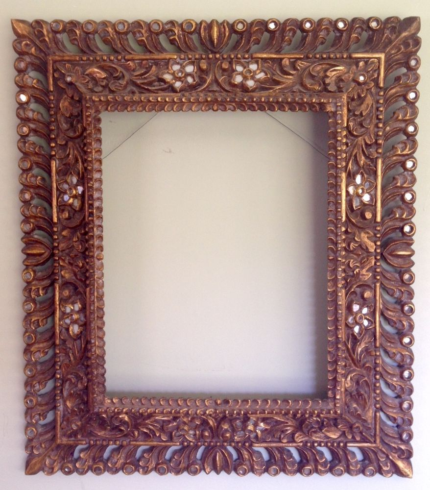 Vintage Large colonial Mexican hand carved gilded picture mirror ...