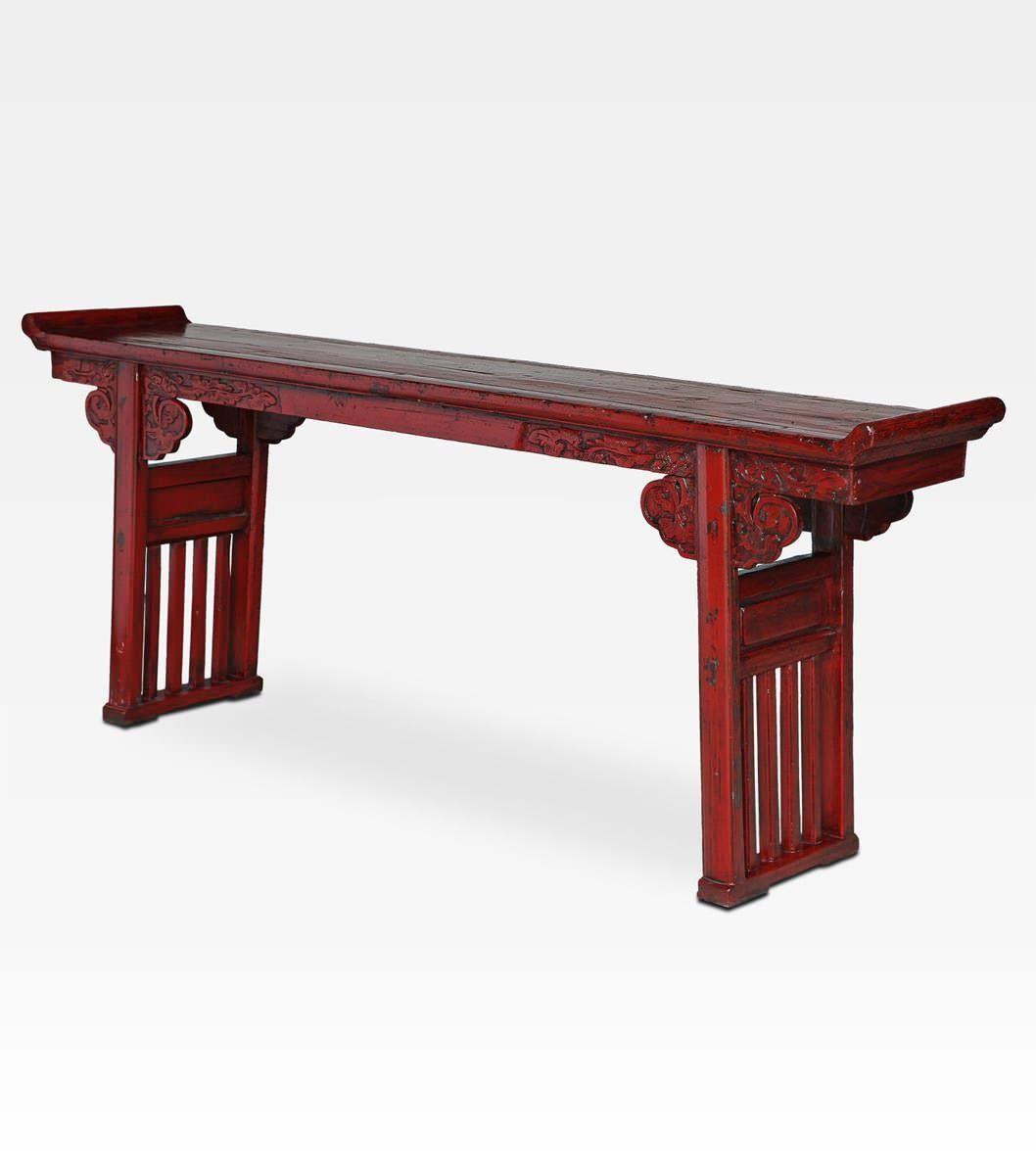 Siva Tavoli E Panche.Antica Consolle Cina Antica Consolle Cinese Laccata Rossa Un