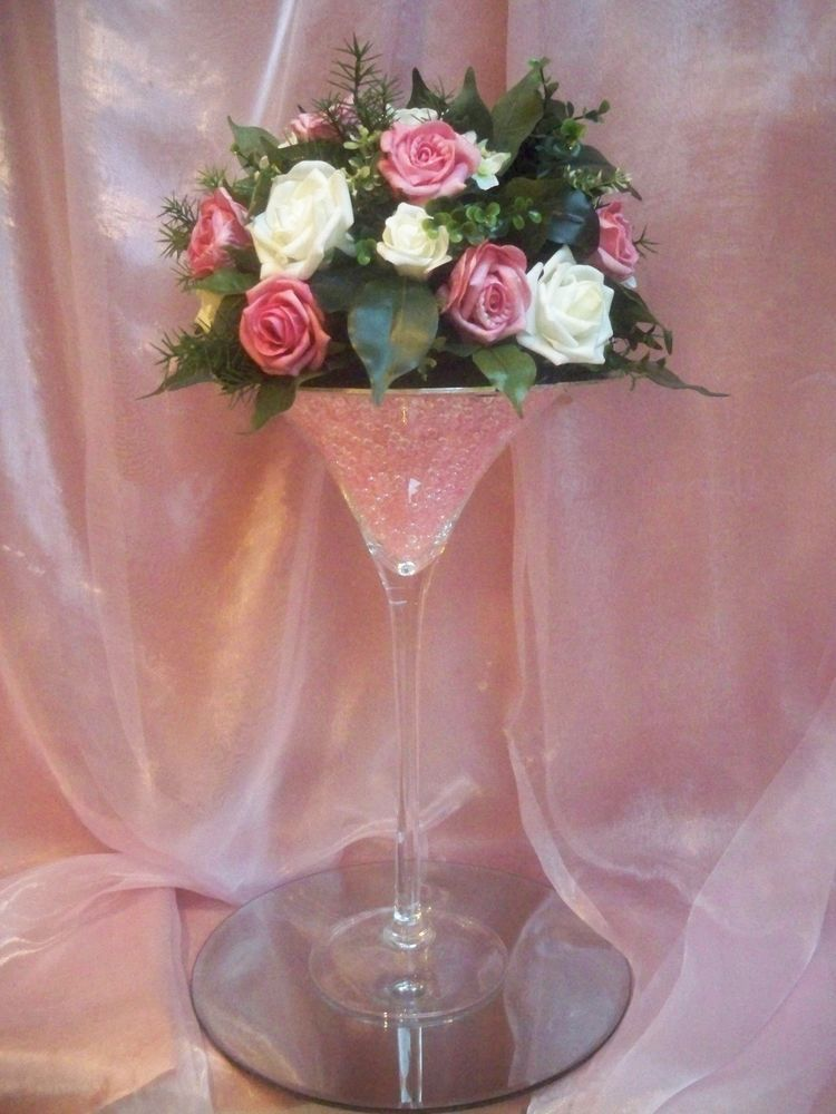 For hire cm martini glass vase centrepiece wedding