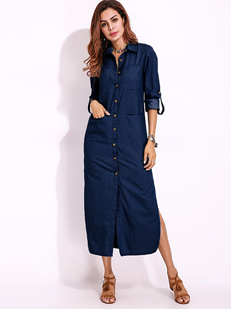 c3a0ab1d8d Elegant Women Turn-down Collar Long Sleeve Button Down Denim Shirt Dress