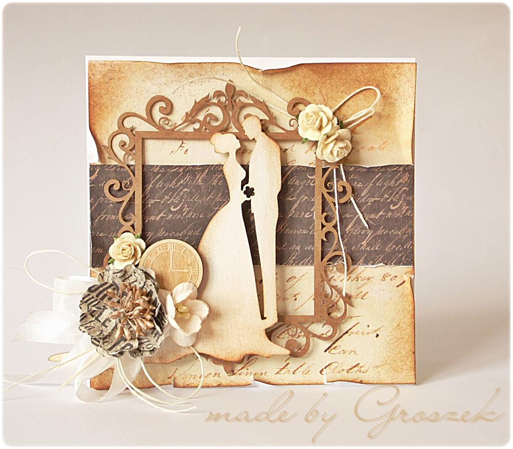 Made By Groszek Goscinnie Dla Craftfun Vintage Wedding Cards Vintage Cards Wedding Cards