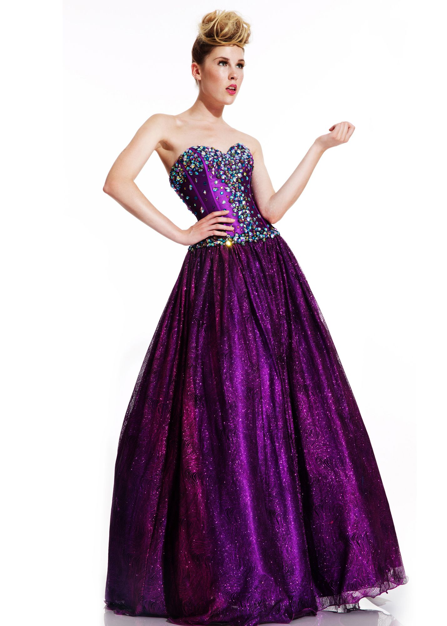 Johnathan kayne purple tulle ball gown prom gowns online