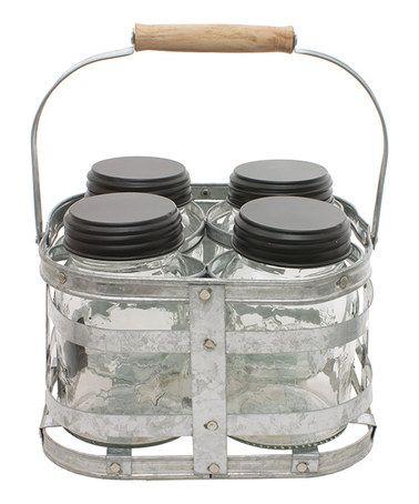 Look what I found on #zulily! Galvanized Metal Holder & Mason Jar - Set of 4…