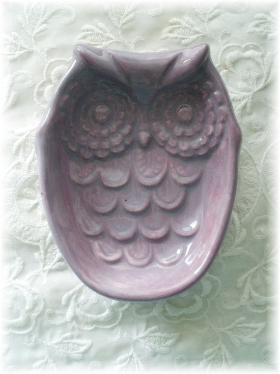 Owl Soap Dish in Purple Sponge Dish Spoon by Angelheartdesigns, $16.00