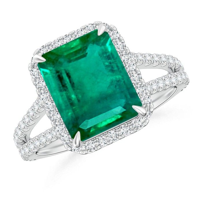 Angara Emerald Ring - GIA Certified Oval Emerald Split Shank Halo Ring v21qSJ