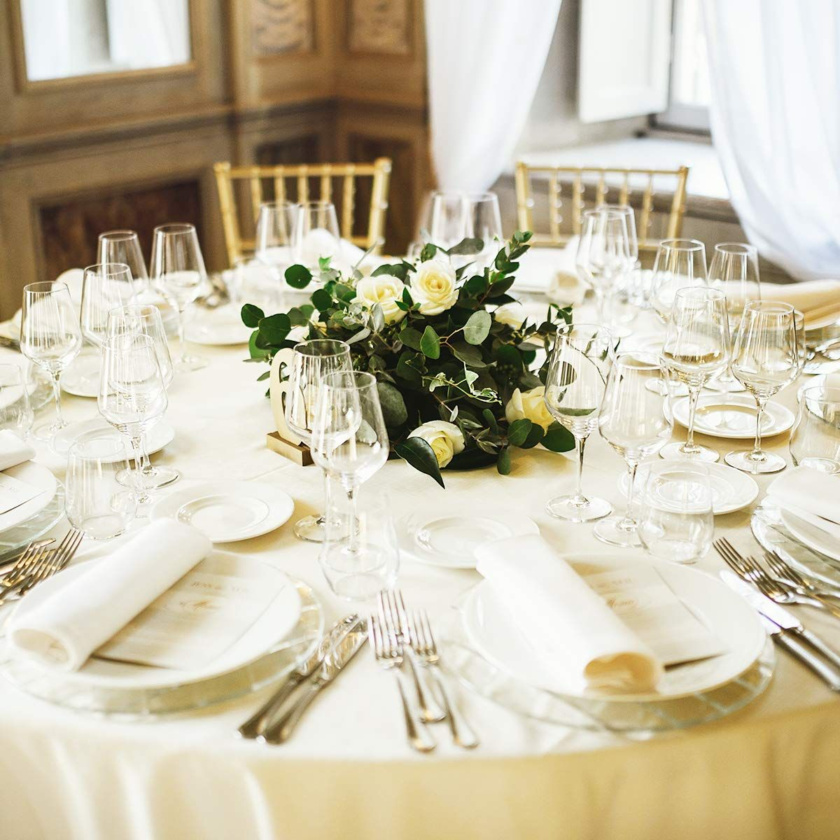 Giantex 10 Pcs Round Ivory Tablecloth 90 Inch Premium Polyester