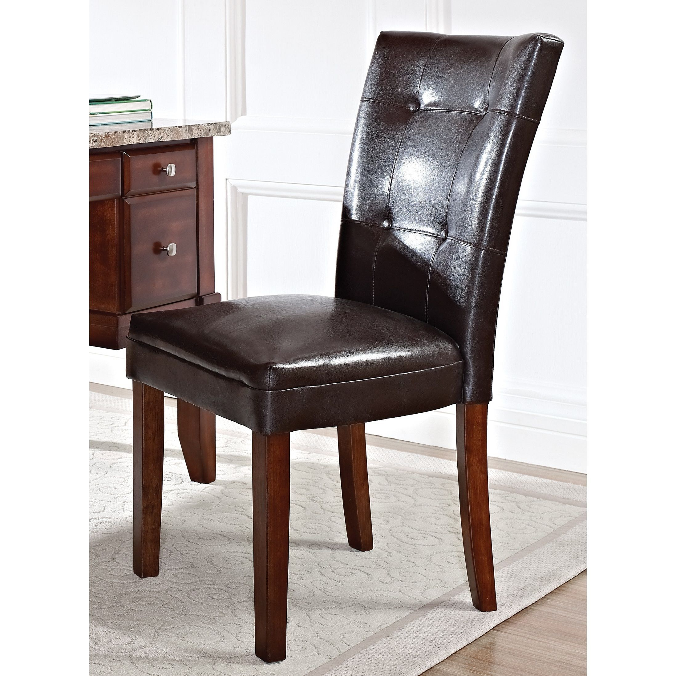 Super Melbourne Medium Cherry Faux Leather Parsons Chair By Beatyapartments Chair Design Images Beatyapartmentscom