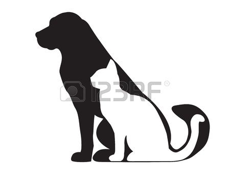 Photo of Silueta de perro negro y gato blanco aislado en blanco