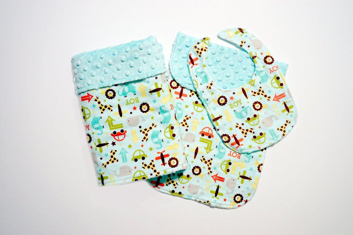 Homemade Elephant Block Design Receiving Blanket//Burp Cloths