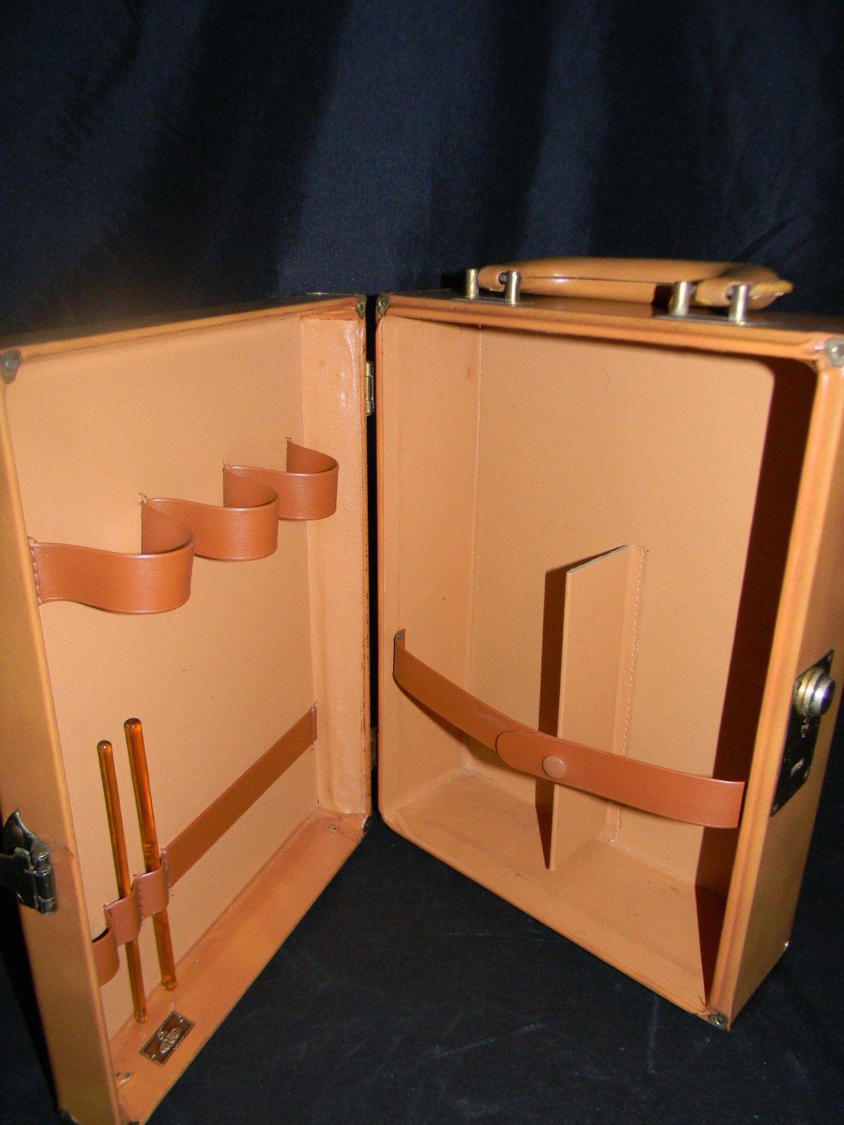 Vintage Portable Bar Leather Travel Bar Case Rexbilt USA WINE BEER CAMPING