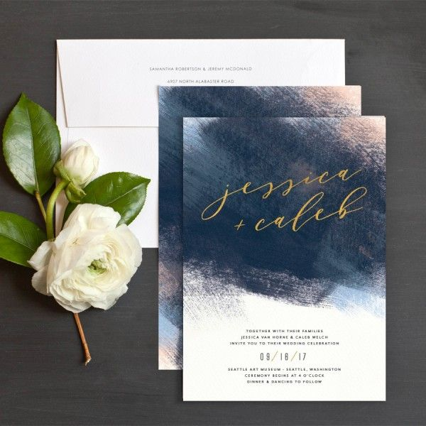 Modern Brushstroke Wedding Invitations by Jennie Hake | Elli