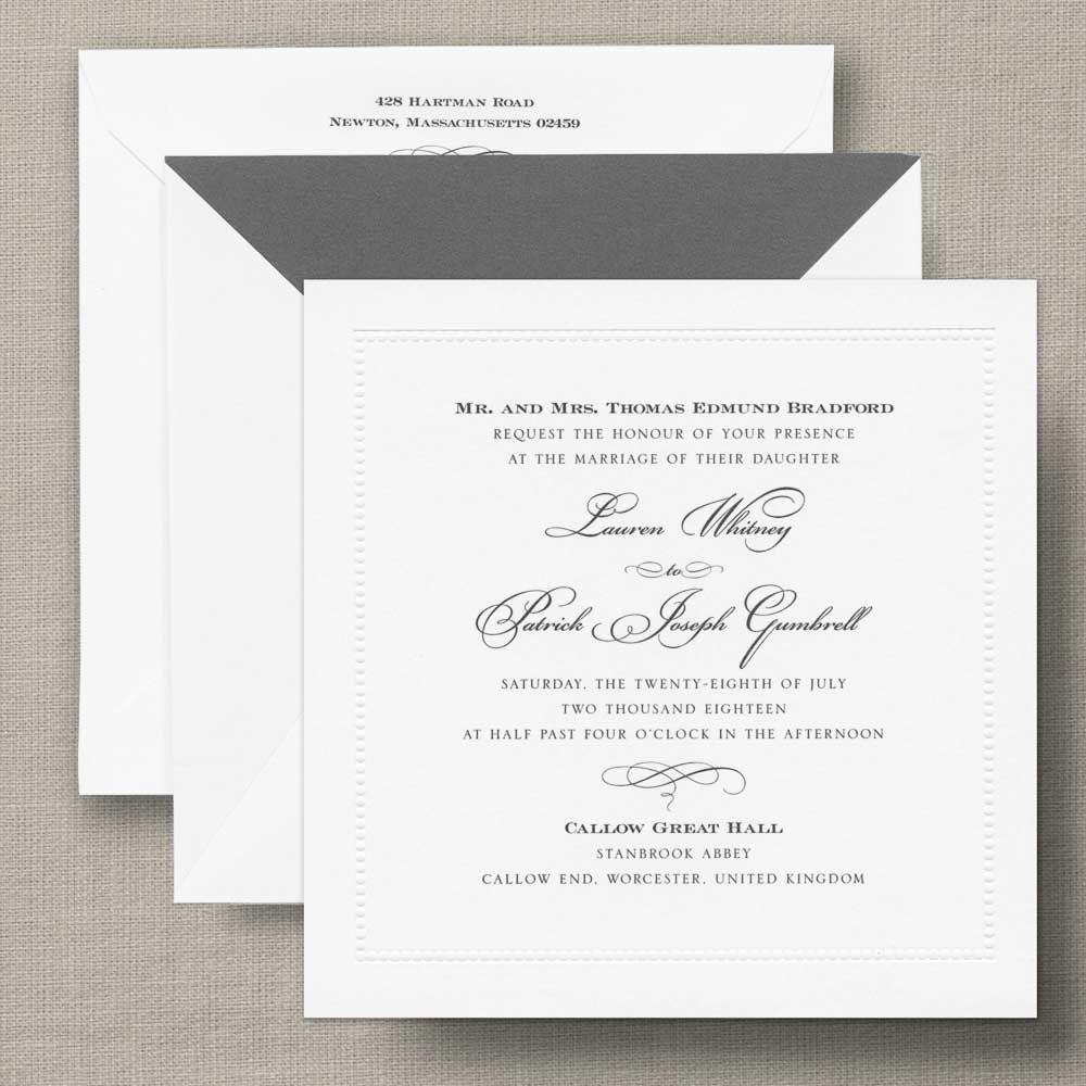 White Beaded Border Square Wedding Invitation