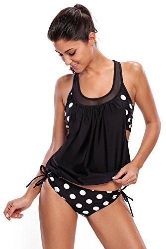 ea2d017a80798 EVALESS Womens Stripes Lined Up Double Up Tankini Top Bikini Swimwear  XXLarge Size Black ** Read more at the image link.