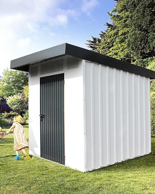 Gerätehaus Kindergarten Holz Metall anthrazit modern