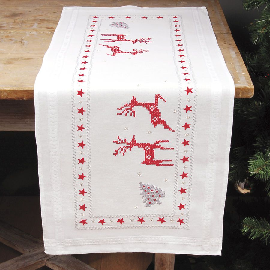 Reindeer Dance Table Runner Stamped Cross Stitch Kit - Cross Stitch ...